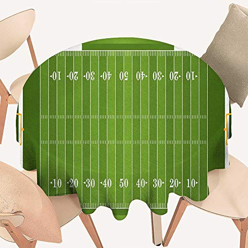 (haommhome Football Fabric Tablecloth Sports Field in Green Gridiron Yard Competitive Games College Teamwork Superbowl Round Tablecloth D 54