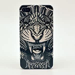 JJE Beautiful Tattoo Animal Monster Pattern Hard Case for iPhone 4/4S , Light Blue