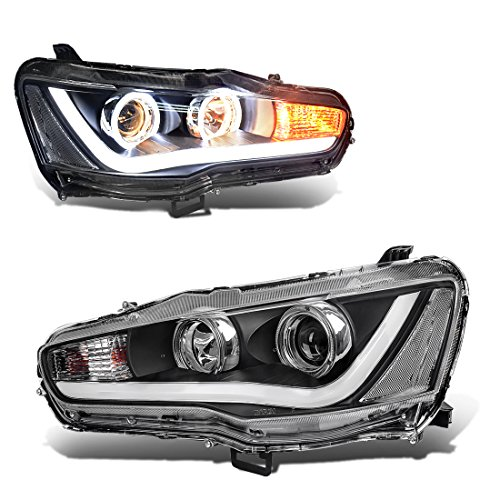 DWVO 08 09 10 11 12 13 14 15 16 Mitsubishi Lancer Headlight,Replacement Halo DRL Headlamp Assembly,      Black Housing Front lights,Clear Lens Warm White Projector (Mitsubishi Lancer Halo Projector Headlights)