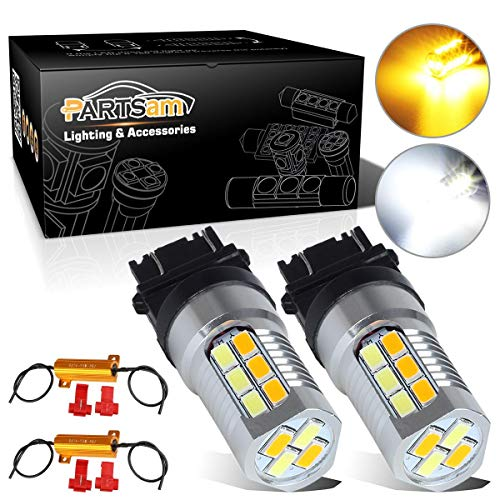 Partsam 2PCS 4157 3157 3156 3456 Switchback Dual Color High Power LED Front Turn Signal Light + Load Resistor Amber/Yellow White Led Bulbs