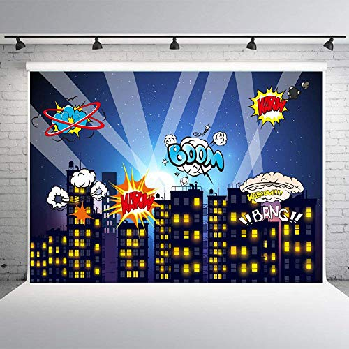 (Fanghui Super City Hero Photography Backdrops Photo Background Birthday Party Decoration Vinyl)