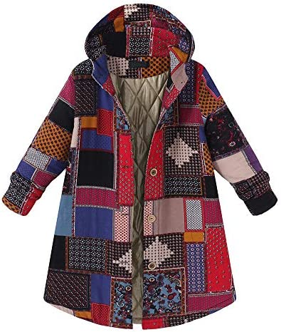 JOFOW Womens Jackets Parka Plaid Block Patchwork Hooded Cotton Quilted Warm Padded Long Loose Coats Winter Plus Size XXXL