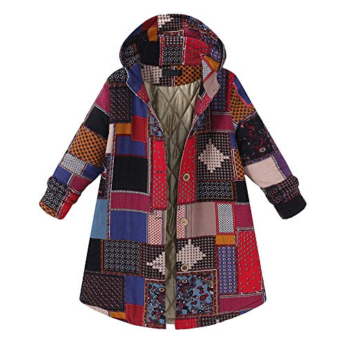 Chunky Vintage Wood (Coat for Women, Plus Size Women Hooded Long Sleeve Vintage Ladies Fleece Thicken Coats Button Long Coat 2018 (XL, RED))