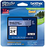 "Genuine Brother 3/4"" (18mm) Black on Clear TZe P-Touch Tape for Brother PT-7600, PT7600 Label Maker"