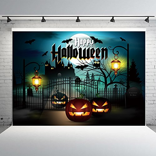 7x5ft Halloween Background for Photography Vinyl Spooky Forest Photo Backdrop Studio Props Dead Trees and Pumpkins Photographic Booth -