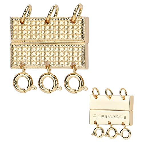 Triple Layering Clasp Jewelry Closure, Cauwsai 18K Gold Plated Magnetic Necklace Clasp Elegant Jewelry Clasp Converter for Necklaces, Bracelets, Jewelry Crafts, Gold