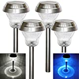 Sogrand Solar Garden Lights Outdoor Pathway Decorative Stake Light Upgraded Dual LED White Blue Glass Lens Brgiht 10Lumen Decorations Stainless Steel Stakes for Patio Outside Landscape Walkway 4Pack