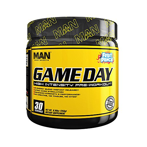 MAN Sports Game Day High Intensity Pre-Workout Supplement, Fruit Punch, 255 Gram