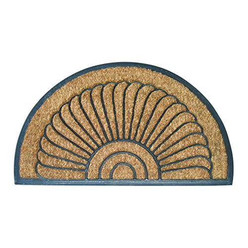 Entryways Shell Half Round All Natural Coconut Fiber Coir, Recycled Rubber and Natural Latex Bootscraper Doormat, 18