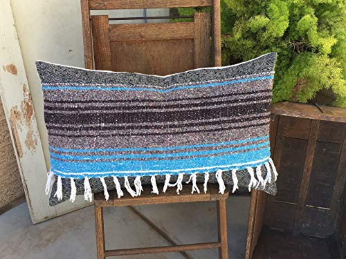 alerie Sassoon Blue s Black and Shades of Grey Woven Wool and Mexican Blanket Pillowcase Cover 16x26 Boho Style Lumbar with Fringe by alerie Sassoon