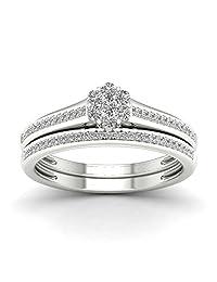 De Couer 10K White Gold 1/3ct TDW Diamond Clustere Bridal Sets (H-I, I2)