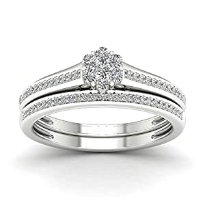 De Couer 10K White Gold 1/3ct TDW Diamond Clustere Bridal Sets (H-I, I2)