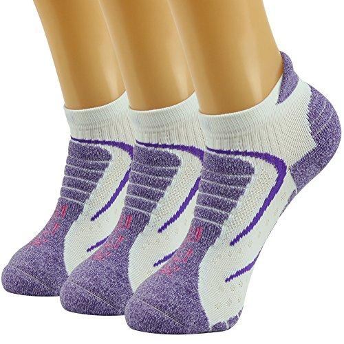 Facool Women's Running Moisture Wicking Lightweight Cushion Heel Tab No Show Hiking Socks,One Size,3 Pairs Purple&white