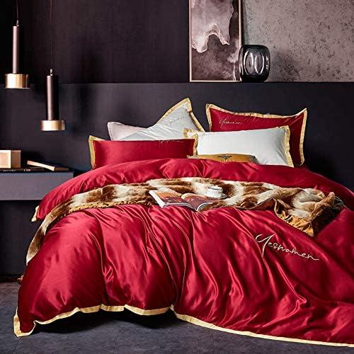 シルク 刺繍 綿サテン 寝具カバーセット, 4 ピース ジャカード ソフト 快適 綿 夏 クールな 肌-フレンドリー 寝具ベッド ファスナー付け-b