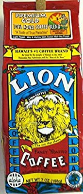 Lion Hawaiian 10% Kona Coffee Blend Premium Gold - Auto Drip Grind 7 Ounces