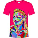 aofmoka Short Sleeve T-Shirt Neon Blacklight Party Gift Unisex Tee Men Women Kids