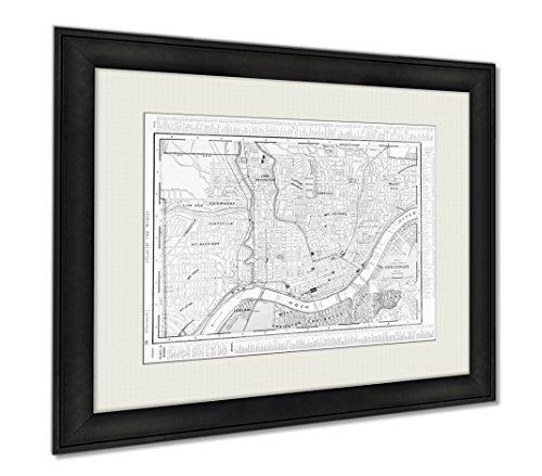 Ashley Framed Prints Antique Color Street City Map Cincinnati Ohio USA, Wall Art Home Decoration, Black/White, 26x30 (frame size), (Cincinnati Ohio Usa Framed)