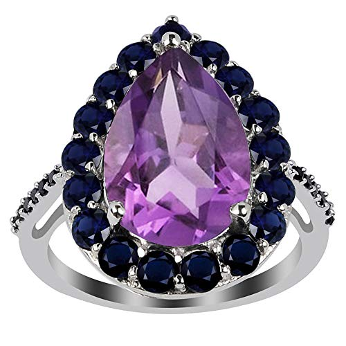 Orchid Jewelry 5.49 Ct Natural Pink Amethyst,Sapphire,Spinal Sterling Silver Ring