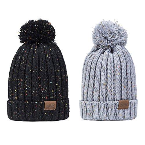 REDESS Women Winter Pom Pom Beanie Hat with Warm Fleece Lined, Thick Slouchy Snow Knit Skull Ski Cap (Black&Light gray2)