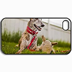Personalized Protective Hardshell Back Hardcover For iPhone 4/4S, Dog View Background Design In Black Case Color