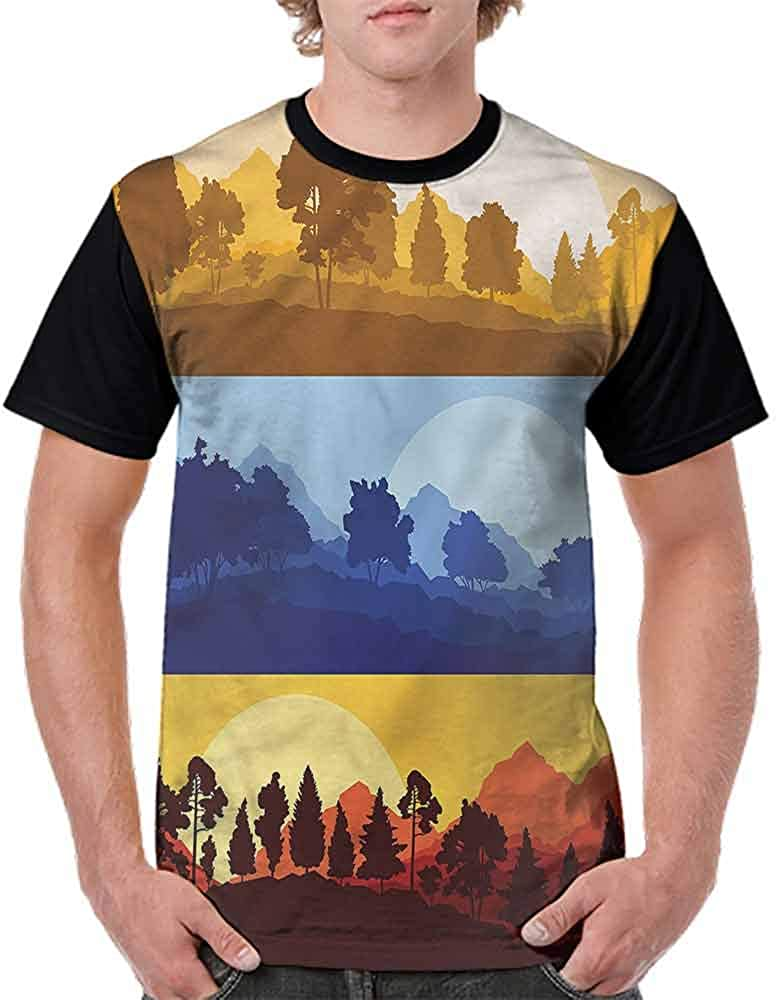 Loose T Shirt,Sunset Mountain Panorama Fashion Personality Customization