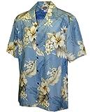 Pacific Legend Tropical Floral Hibiscus and Plumeria Hawaiian Shirt (4XL, Blue)