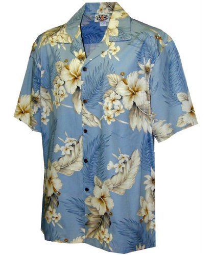 Pacific Legend Tropical Floral Hibiscus and Plumeria Hawaiian Shirt (L, (Island Hibiscus Hawaiian Shirt)