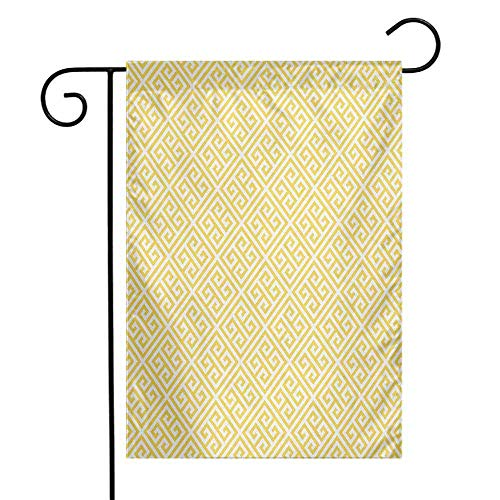 QIAOQIAOLO Colorful Garden Flag Greek Key Ancient Roman Culture Themed Minimalist Pattern Meander Diagonal Squares Tile Double Suture Yellow White W12 ()