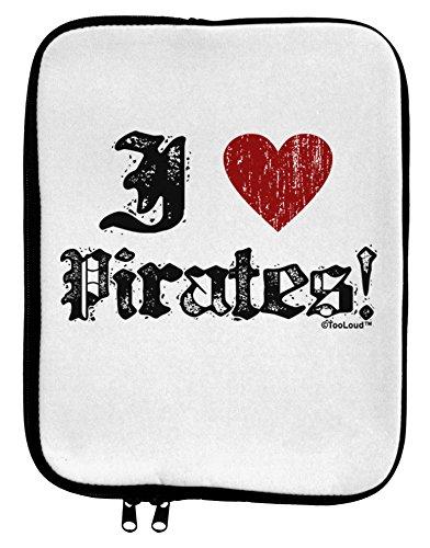 [TooLoud I Heart Pirates 9 x 11.5 Tablet Sleeve - White Black] (Somali Pirate Costume)