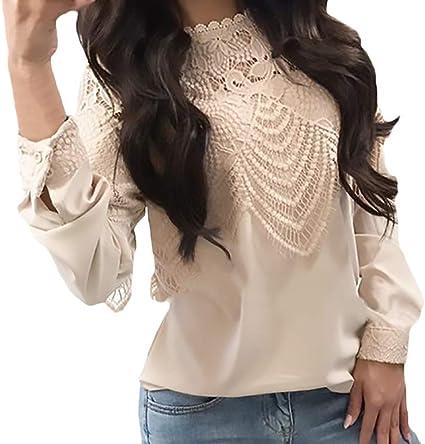 Camisa De Manga Larga Mujer Vintage Moda Splice Encaje Blusas Tops Otoño Chic Ropa Colores Sólidos Cuello Redondo Manga Largo Elegantes Shirt Camisas Señoras: Amazon.es: Ropa y accesorios