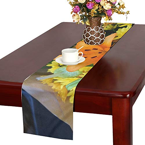 Asiatic Lily Floral Bouquet Blossom Flora Table Runner, Kitchen Dining Table Runner 16 X 72 Inch for Dinner Parties, Events, Decor
