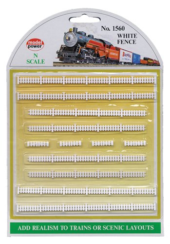 Model Power N Scale White Picket Fences