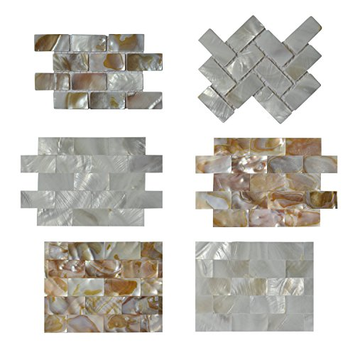 Art3d Mother of Pearl Shell MOP Shell Mosaic Tiles 6 Samples