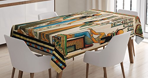 Ambesonne Egyptian Decor Tablecloth, Egyptian Papyrus Depicting Queen Nefertari Making an Offering to Isis, Dining Room Kitchen Rectangular Table Cover, 52 X 70 inches