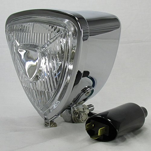 (ARIS Style Triangle Chrome Motorcycle Headlight with Bottom Mount Bracket - 12V High Low Beam H6 35/35W Bulb - Old School Bobber Chopper Cafe Racer Harley Brat)