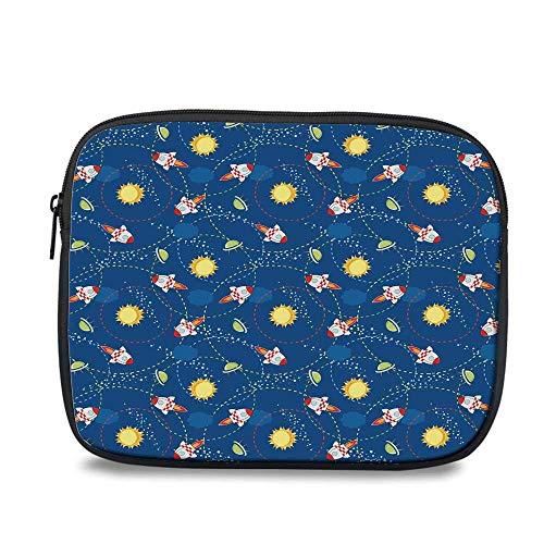 - Space Durable iPad Bag,Cute Little Cartoon Rocket with Circular Flight Path and UFOs Sun Polka Dots Skyline Decorative for iPad,10.6
