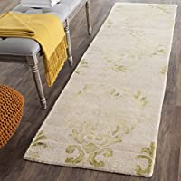 Safavieh Dip Dye Collection DDY516B Handmade Watercolor Vintage Erased Weave Medallions Beige and Green Wool Runner (23 x 6)