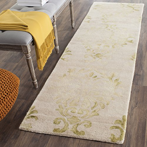 Safavieh Dip Dye Collection DDY516B Handmade Watercolor Vintage Erased Weave Medallions Beige and Green Wool Runner (2'3