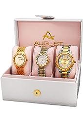 August Steiner Women's AS8200YG Quartz Movement Analog Display Watch Set