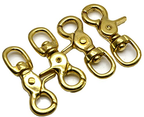Okones Pack of 4,5/9''(14mm)Eye Diameter,2-3/5'' Overall Length,Solid Brass Lobster Clasps Oval Swivel Trigger Clips Hooks for Straps Bags Belting leathercraft (2-3/5'') by Okones Art