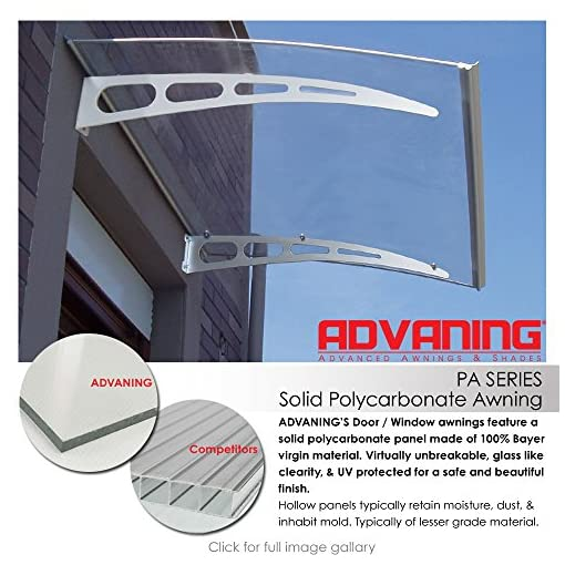 Garden and Outdoor ADVANING DA5935-PSS1A PA Series, Premium Quality Crystal Polycarbonate Door/Window Awning Ideal for Rain, Snow and UV… patio awnings