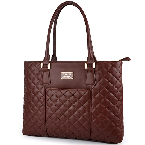 Laptop Tote Bag,Women PU Leather Quilted Shockproof Computer Bag Fit Up to 15.6 IN Laptop,Business Shoulder Handbag with Rolled Durable Straps by ZYSUN(6028+coffee)