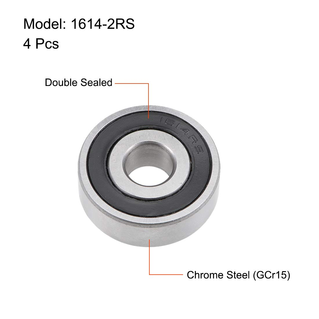 sourcing map 1614-2RS Deep Groove Ball Bearing 3//8-inchx1-1//8-inchx3//8-inch Sealed Z2 Lever Bearings 4pcs
