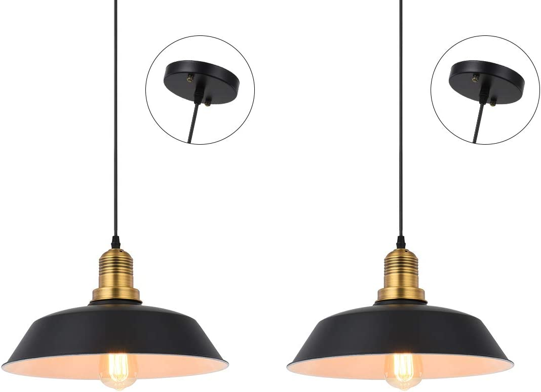 Vintage Pendant Lights, Hebolen Industrial Black Metal Edison Pendant Light For Bar Loft Barnyard Farmhouse 1 Light Hardwired Ceiling Pendant Light