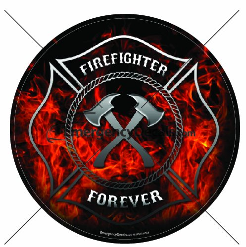 Firefighter flames Maltese Cross 8 inch decal: Firefighter Forever with flames ()