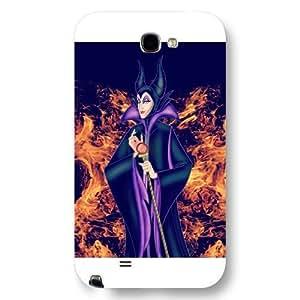 Customized White Hard Plastic Disney Sleeping Beauty Maleficent Samsung Galaxy Note 2 Case