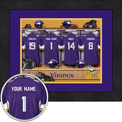 Minnesota Vikings Team Locker Room Personalized Jersey Officially Licensed NFL Sports Photo 11 x 14 Print ()