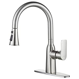 WOWOW Pull Down Commercial Single Handle High Arc Brushed Nickel Kitchen Faucet Pull Out Modern Single Lever Stainless Steel Faucets for Kitchen Sinks with Deck Plate