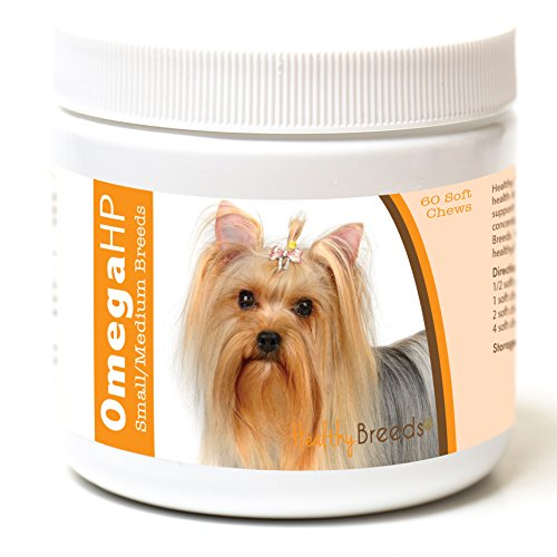 Healthy Breeds Dog Skin And Coat Supplement Omega 3  For Yorkshire Terrier, Light Brown – Over 100 Breeds – Epa & Dha Fatty Acids – Small & Medium Breed Formula – 60 Count For Sale