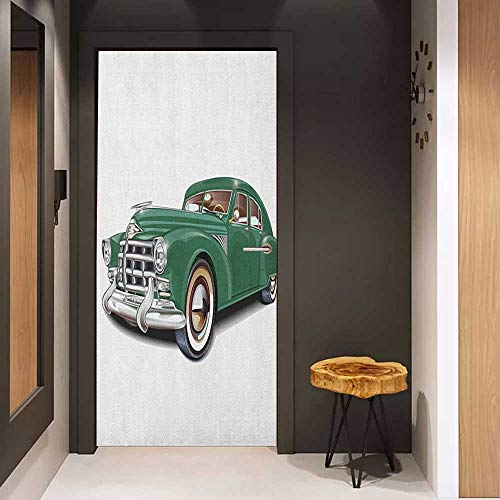 (Door Sticker Manly Antique Automotive Old Model Nostalgia Historic Symbol Retro Car Illustration Glass Film for Home Office W36 x H79 Forest Green White)